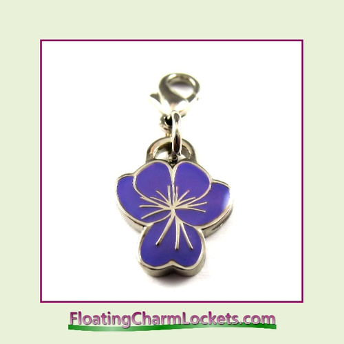 Mini Clip-On Charm:  Flower Purple 12x12mm