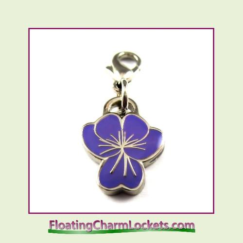 Mini Clip-On Charm:  Flower Purple 12x12mm