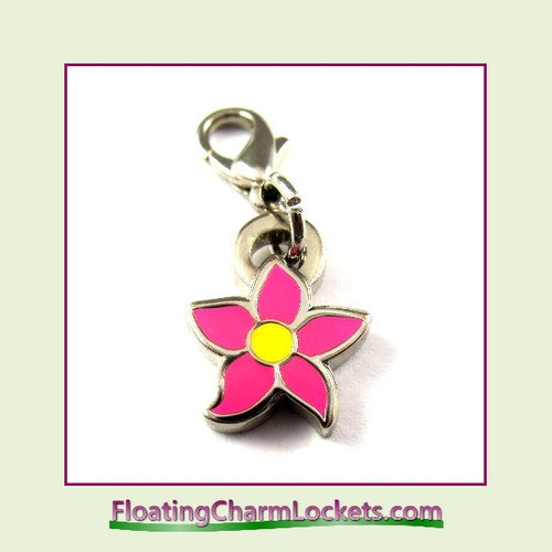Mini Clip-On Charm:  Flower Pink 10x10mm