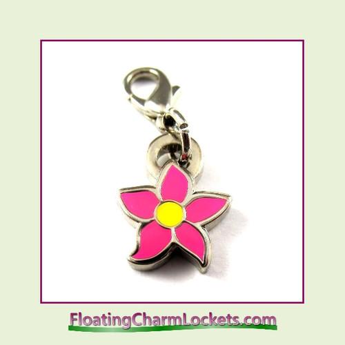 Mini Clip-On Charm:  Flower Pink 10x10mm