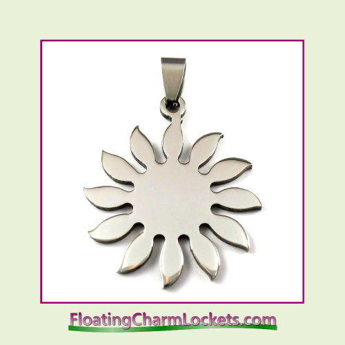 Stainless Steel Pendant - Sunflower (Silver)