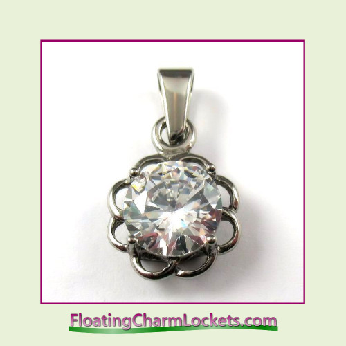 Stainless Steel Pendant - CZ Flower (Silver)
