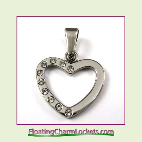 Stainless Steel Pendant - CZ Open Heart (Silver)