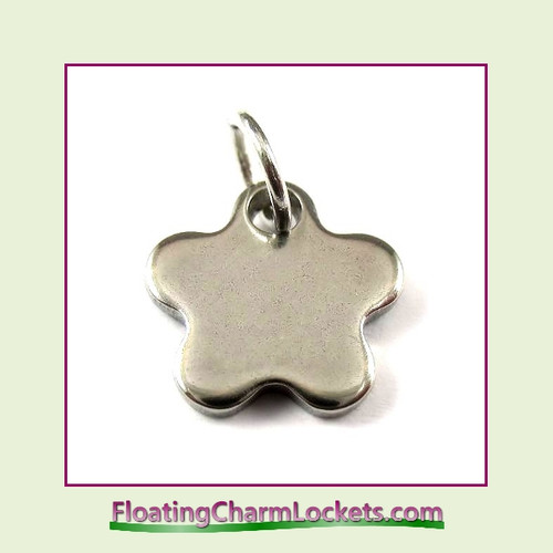 Mini O-Ring Charm:  Flower 11mm Silver Stainless Steel