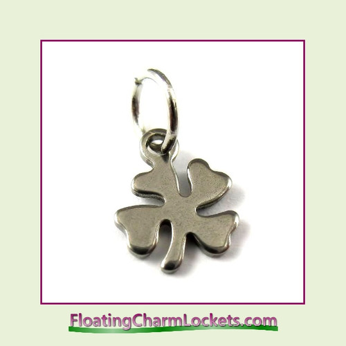 Mini O-Ring Charm:  4 Leaf Clover 8mm Silver Stainless Steel