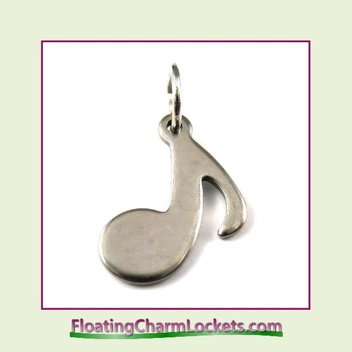 Mini O-Ring Charm:  Music Note 12x12mm Silver Stainless Steel