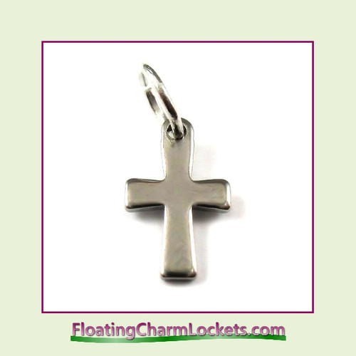 Mini O-Ring Charm:  Cross 7x12mm Silver Stainless Steel