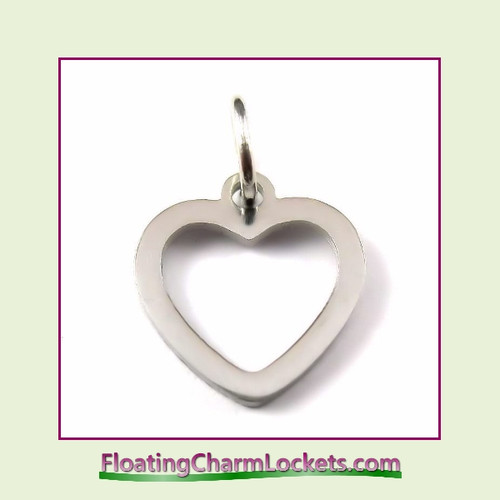 Mini O-Ring Charm:  Open Heart 12x13mm Silver Stainless Steel