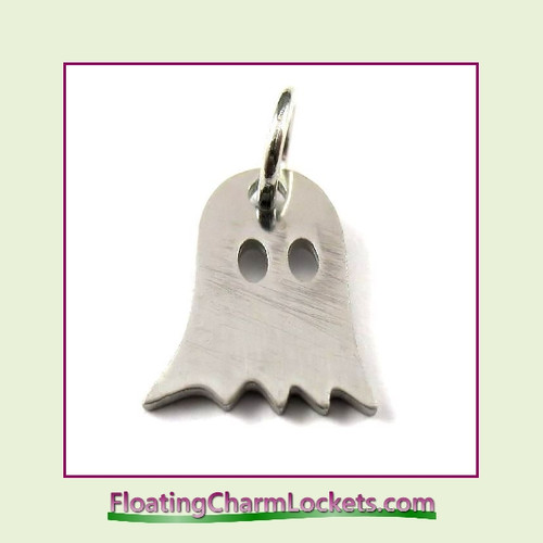 Mini O-Ring Charm:  Ghost 10x12mm Silver Stainless Steel