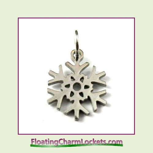 Mini O-Ring Charm:  Snowflake 12mm Silver Stainless Steel