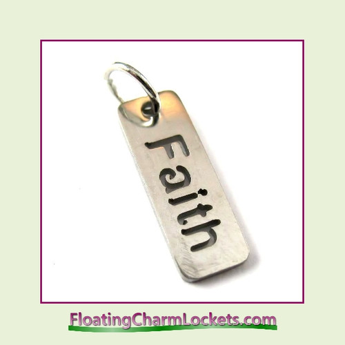 Mini O-Ring Charm:  Faith Tag 6x17mm Silver Stainless Steel