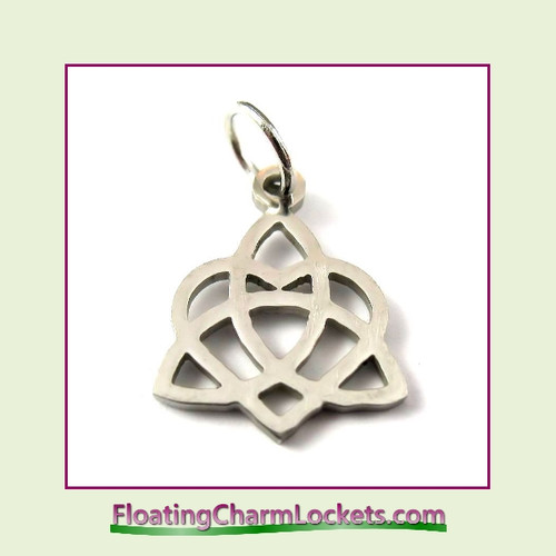 Mini O-Ring Charm:  Celtic Heart 12x16mm Silver Stainless Steel