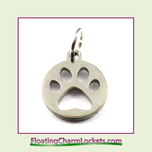 Mini O-Ring Charm:  Paw Print on Round 12mm Silver Stainless Steel