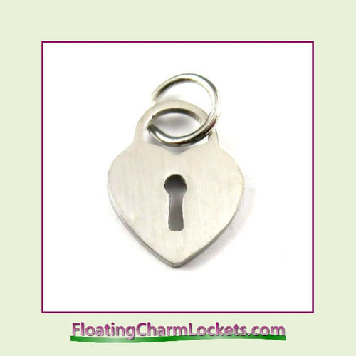 Mini O-Ring Charm:  Heart Lock 10x13mm Silver Stainless Steel