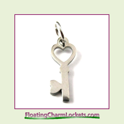 Mini O-Ring Charm:  Heart Key 6x16mm Silver Stainless Steel