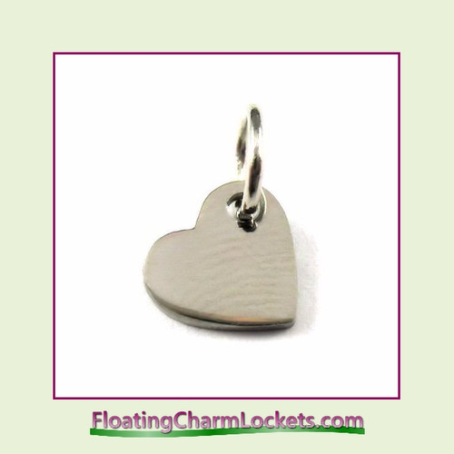 Mini O-Ring Charm:  Heart 7x8mm Silver Stainless Steel