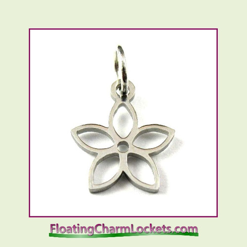 Mini O-Ring Charm:  Open Pointed Flower 9mm Silver Stainless Steel