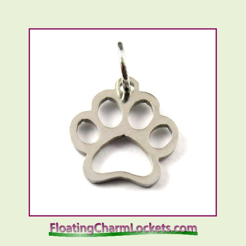 Mini O-Ring Charm:  Paw Print 12x13mm Silver Stainless Steel