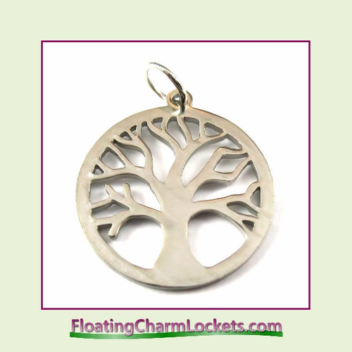 O-Ring Charm:  Open Tree of Life Round 20mm Silver Stainless Steel