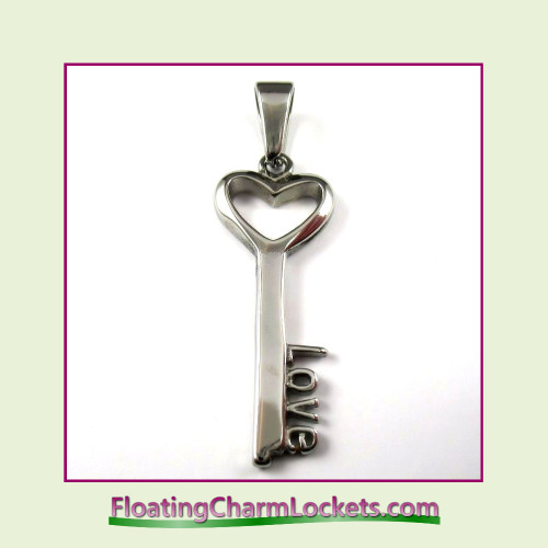 Stainless Steel Pendant - Love Key (Silver)
