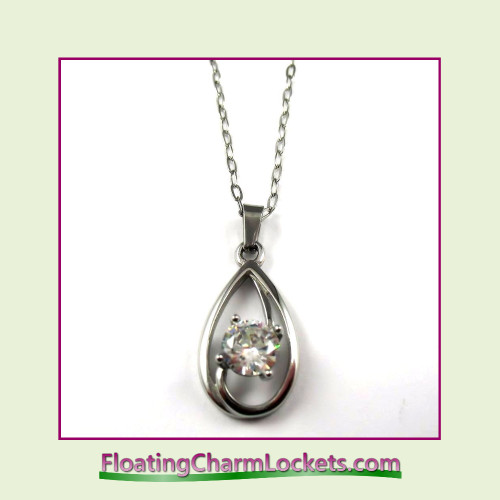 Stainless Steel Necklace - Spiral Teardrop (Silver)