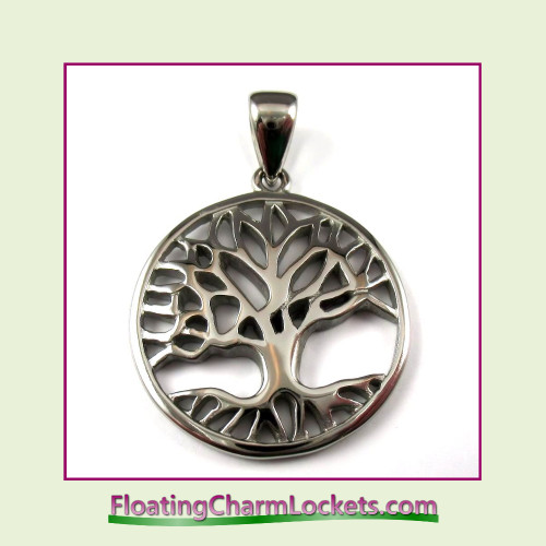 Stainless Steel Pendant - Large Tree of Life Circle (Silver)