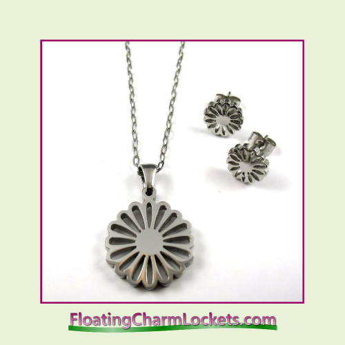 Stainless Steel Jewelry Set - Circle Flower Pendant and Earrings