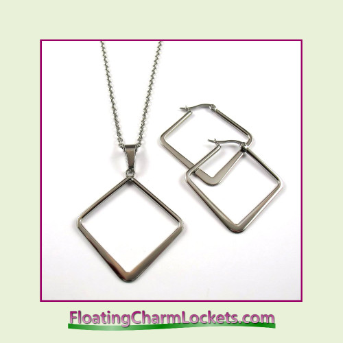 Stainless Steel Jewelry Set - Square Pendant and Earrings