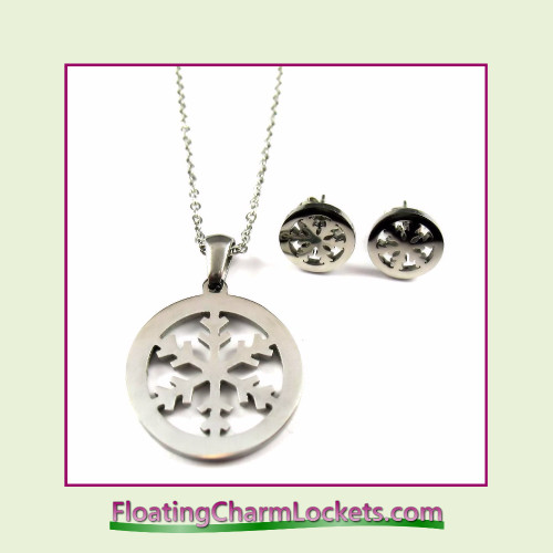 Stainless Steel Jewelry Set - Snowflake Pendant and Earrings (Silver)