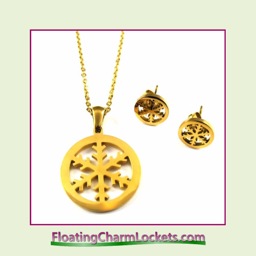 Stainless Steel Jewelry Set - Snowflake Pendant and Earrings (Gold)