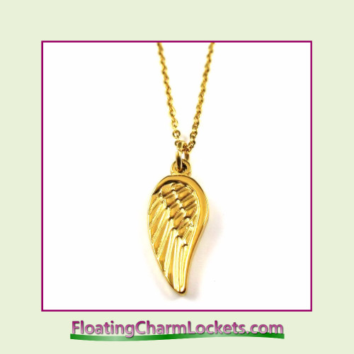 Stainless Steel Necklace - Angel Wing (Gold)