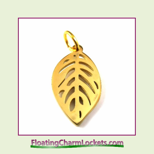 O-Ring Charm:  Leaf 13x22m Gold Stainless Steel