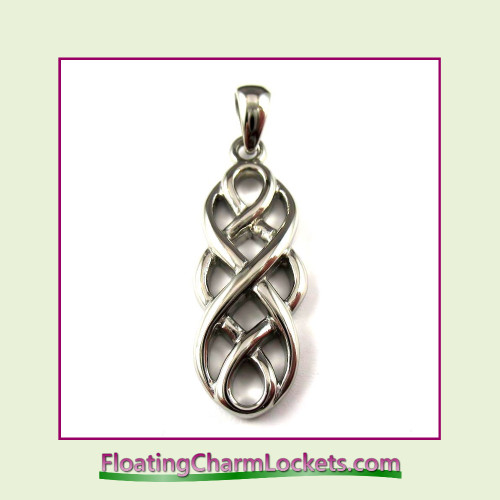 Stainless Steel Pendant - Celtic Design (Silver) - 12x27mm