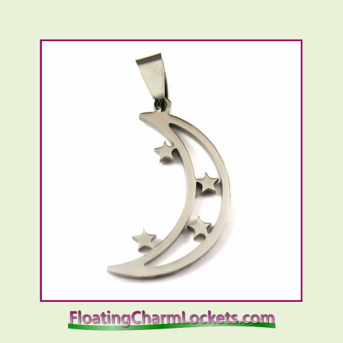 Stainless Steel Pendant - Moon and Stars (Silver) - 17x26mm
