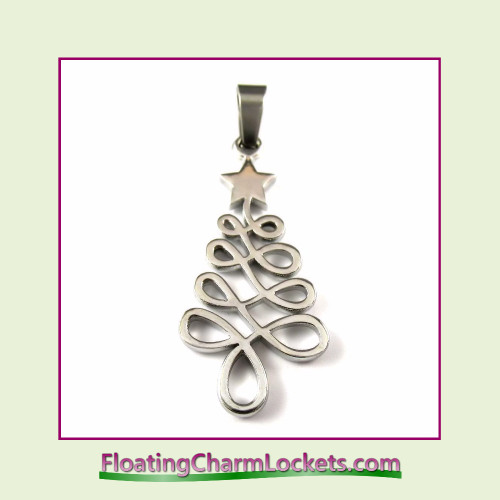 Stainless Steel Pendant - Christmas Tree (Silver) - 16x28mm