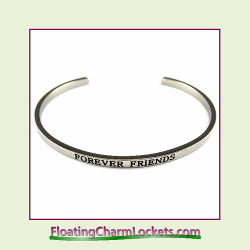 Stainless Steel 3mm Cuff Bangle Bracelet - Forever Friends (Silver)