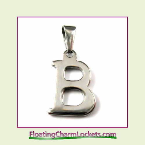 Stainless Steel Initial Pendant - Letter B (Silver) – 13x19mm