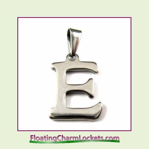 Stainless Steel Initial Pendant - Letter E (Silver) – 15x19mm