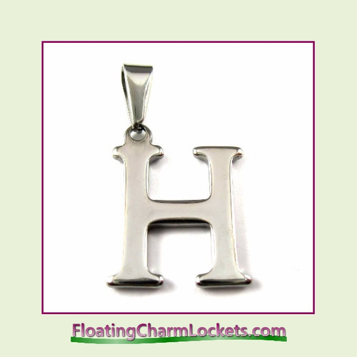 Stainless Steel Initial Pendant - Letter H (Silver) – 16x19mm