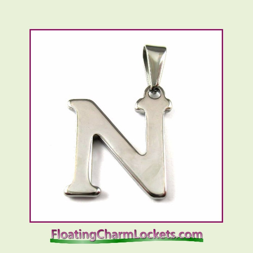 Stainless Steel Initial Pendant - Letter N (Silver) – 15x19mm
