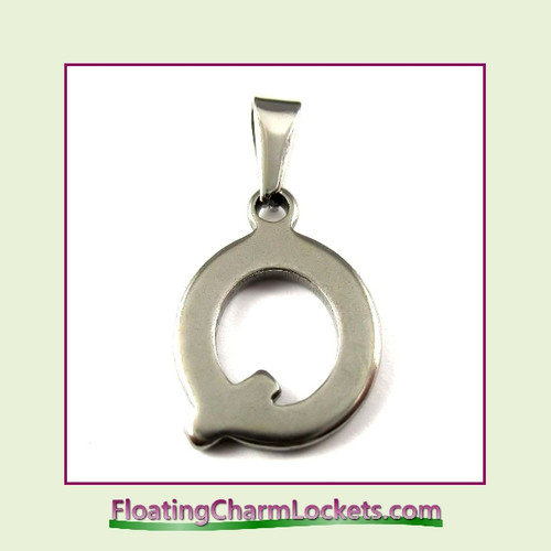 Stainless Steel Initial Pendant - Letter Q (Silver) – 14x19mm