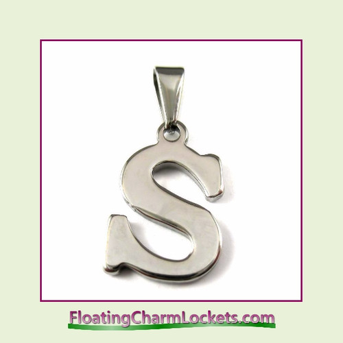 Stainless Steel Initial Pendant - Letter S (Silver) – 13x19mm