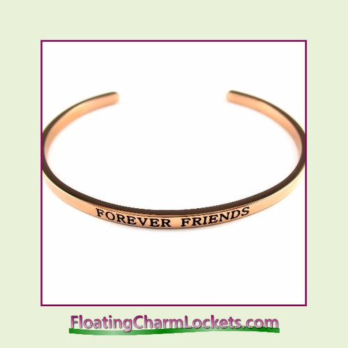Stainless Steel 3mm Cuff Bangle Bracelet - Forever Friends (Rose)
