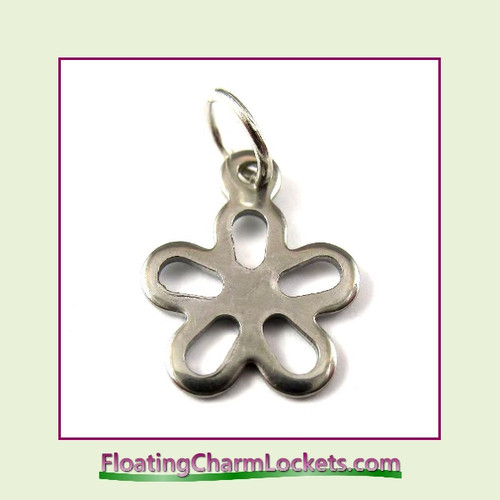 Mini O-Ring Charm:  Open Flower 12mm Silver Stainless Steel