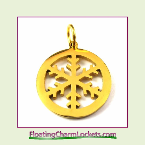 O-Ring Charm:  Snowflake Circle 20mm Gold Stainless Steel