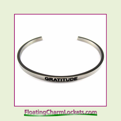Stainless Steel 3mm Cuff Bangle Bracelet - Gratitude (Silver)