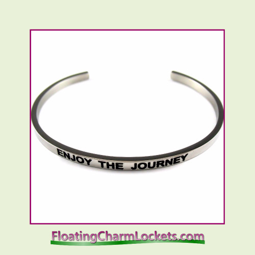 Stainless Steel 3mm Cuff Bangle Bracelet - Enjoy The Journey (Silver)