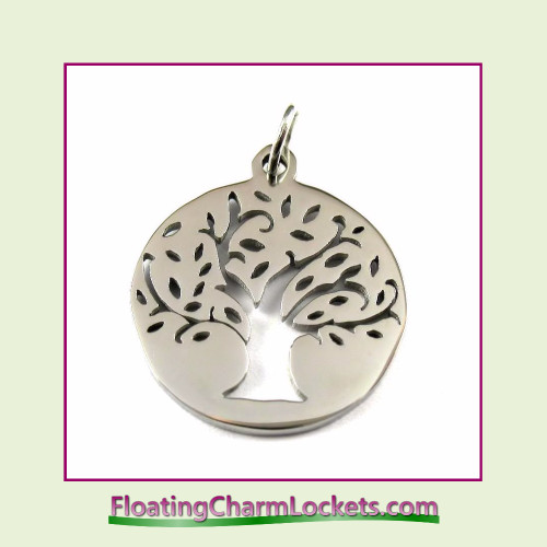 O-Ring Charm:  Tree of Life Round 20mm Silver Stainless Steel