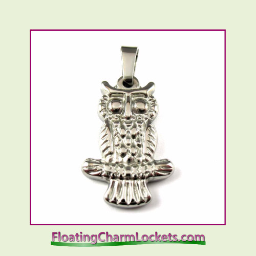 Stainless Steel Pendant - Owl (Silver) - 16x25mm