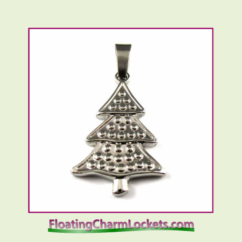 Stainless Steel Pendant - Christmas Tree (Silver) - 18x25mm